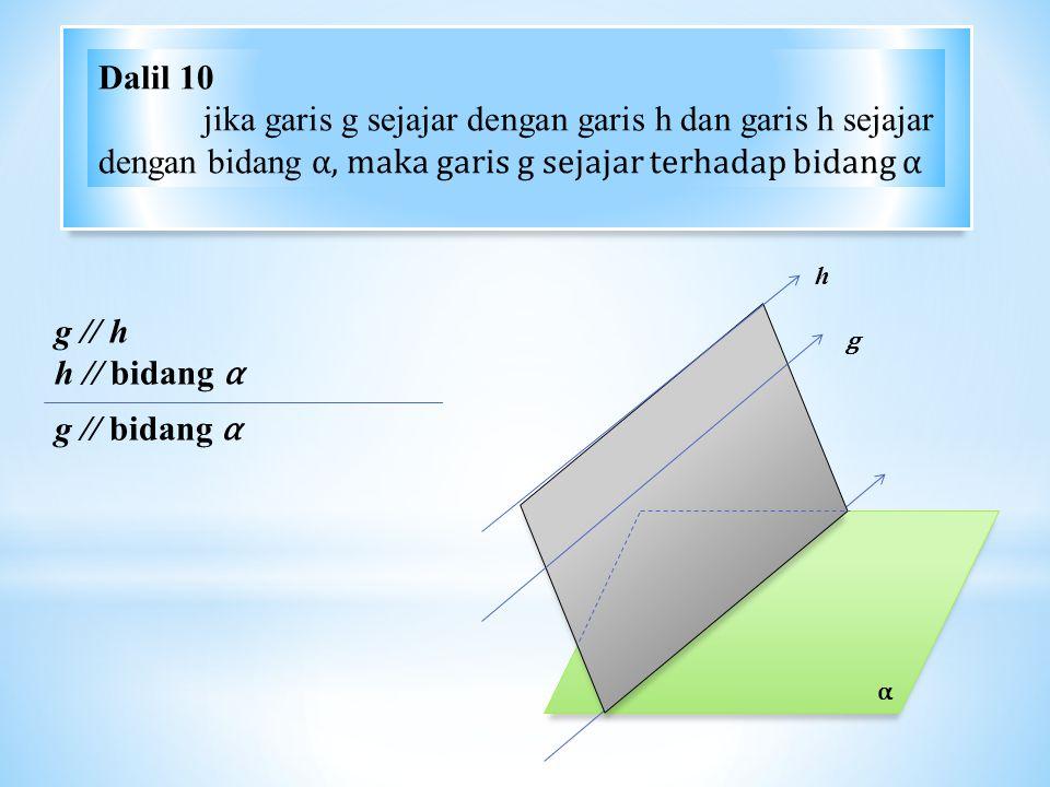 Dalil 10 jika garis g sejajar dengan garis h dan garis h sejajar dengan bidang α, maka garis g sejajar terhadap bidang α.