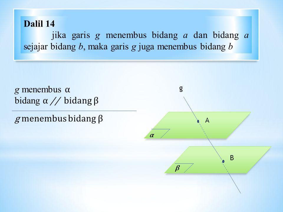 Dalil 14 jika garis g menembus bidang a dan bidang a sejajar bidang b, maka garis g juga menembus bidang b.