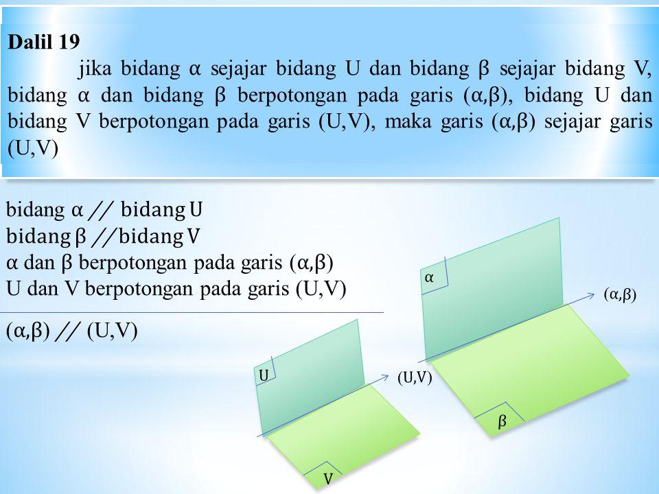 α dan β berpotongan pada garis (α,β)