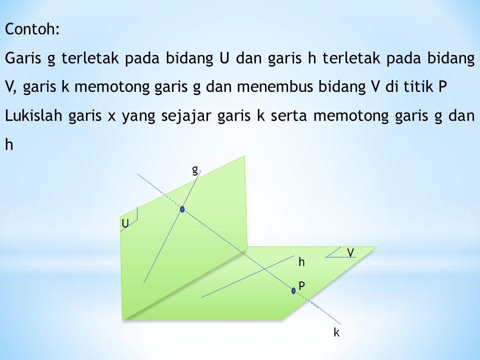 Lukislah garis x yang sejajar garis k serta memotong garis g dan h