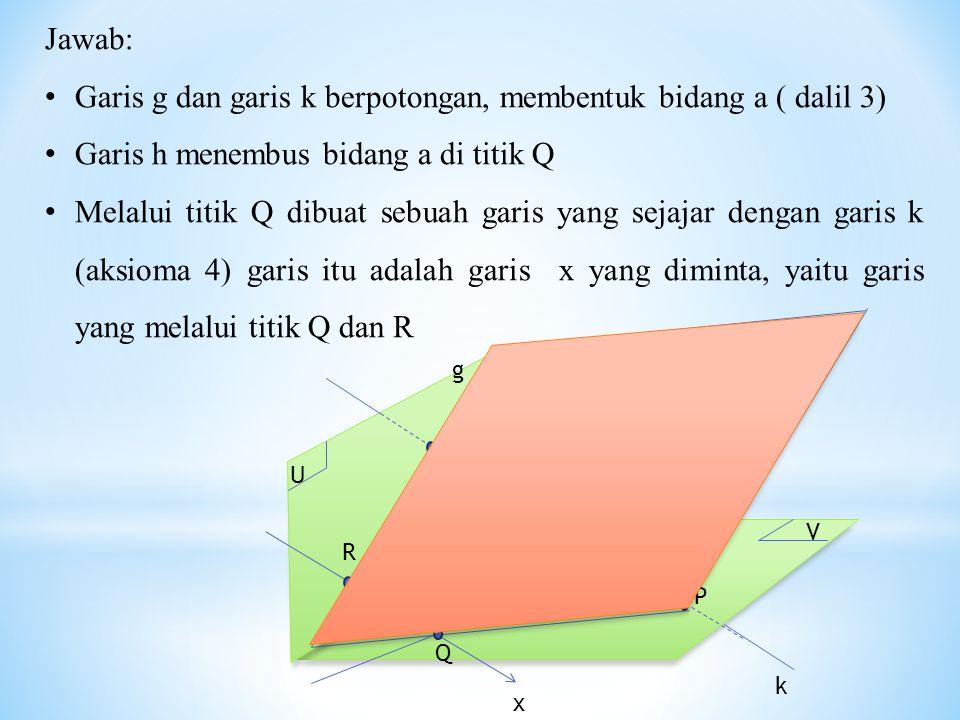 Garis g dan garis k berpotongan, membentuk bidang a ( dalil 3)