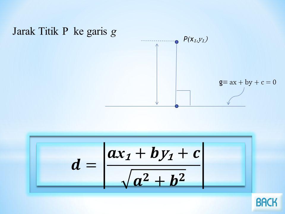 𝒅= 𝒂x₁+𝒃y₁+𝒄 𝒂 𝟐 + 𝒃 𝟐 Jarak Titik P ke garis g P(x₁,y₁)