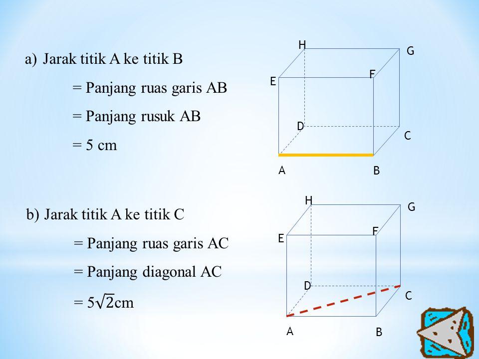 Jarak titik A ke titik B = Panjang ruas garis AB = Panjang rusuk AB