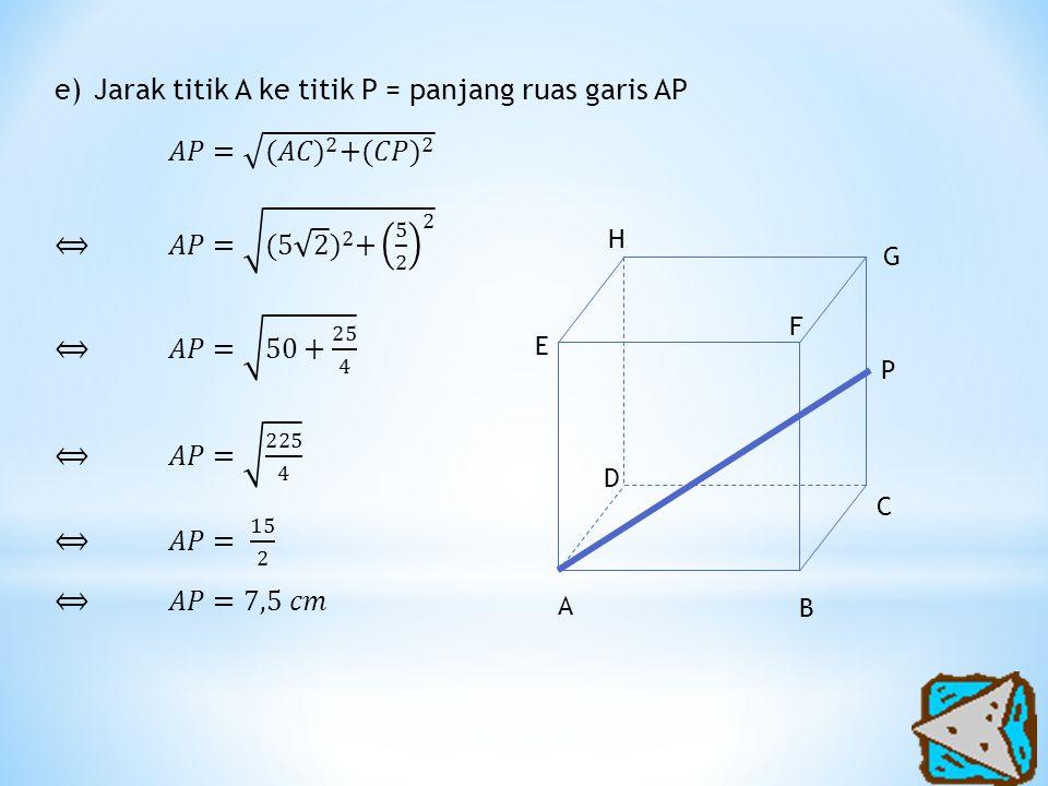Jarak titik A ke titik P = panjang ruas garis AP 𝐴𝑃= (𝐴𝐶) 2 + (𝐶𝑃) 2