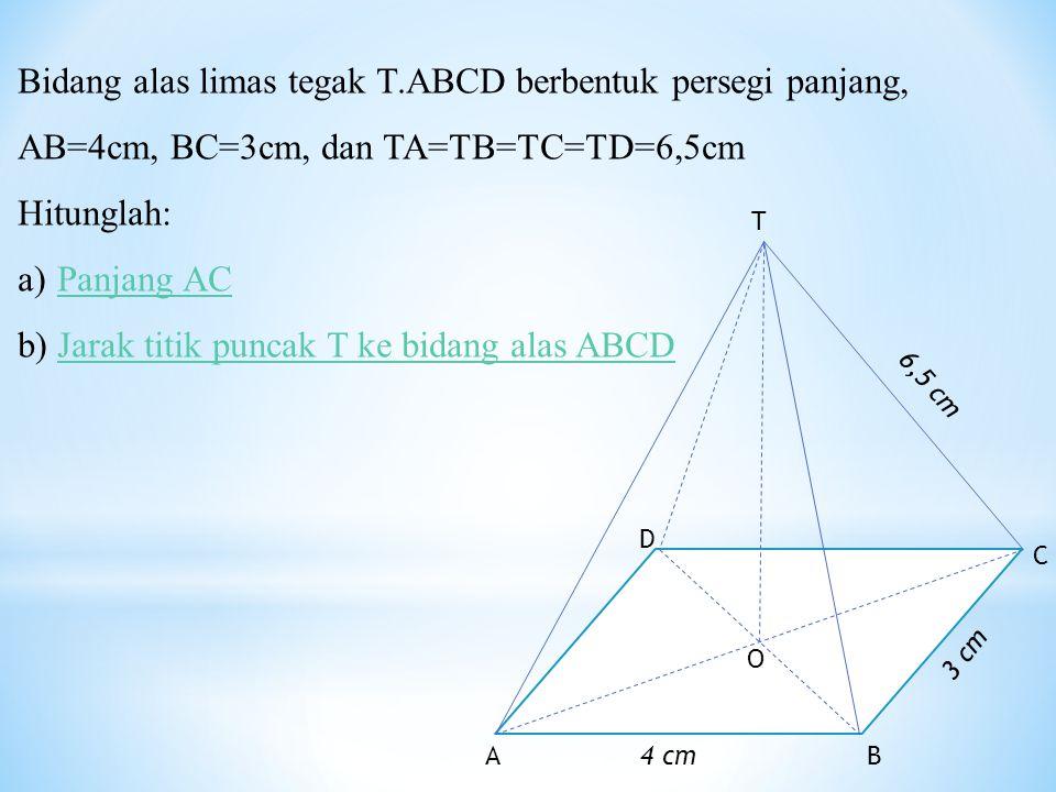 Jarak titik puncak T ke bidang alas ABCD