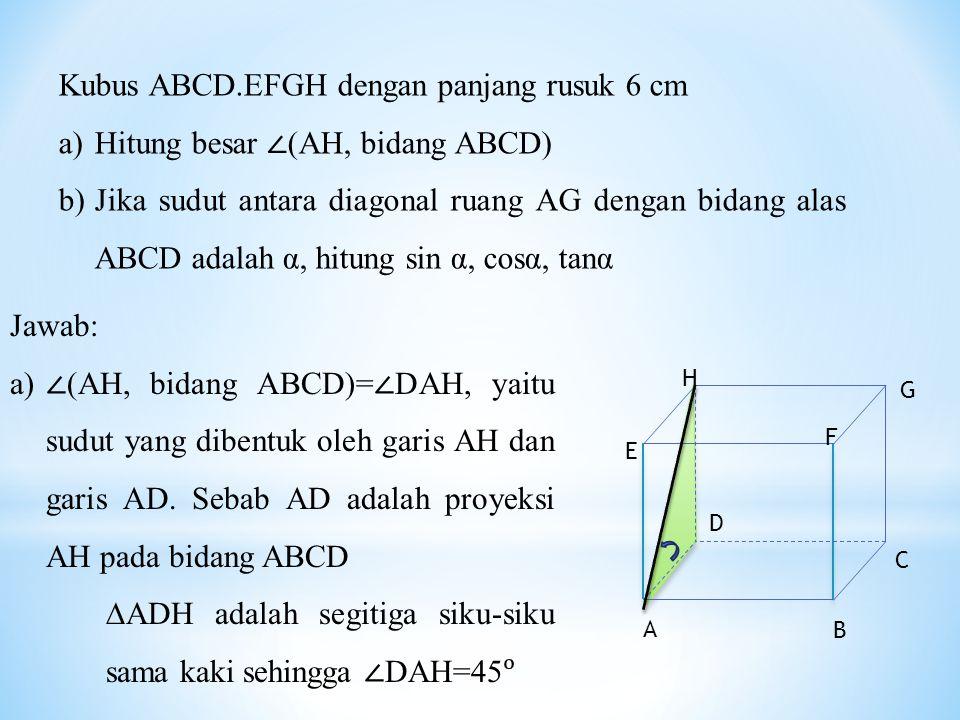 Kubus ABCD.EFGH dengan panjang rusuk 6 cm