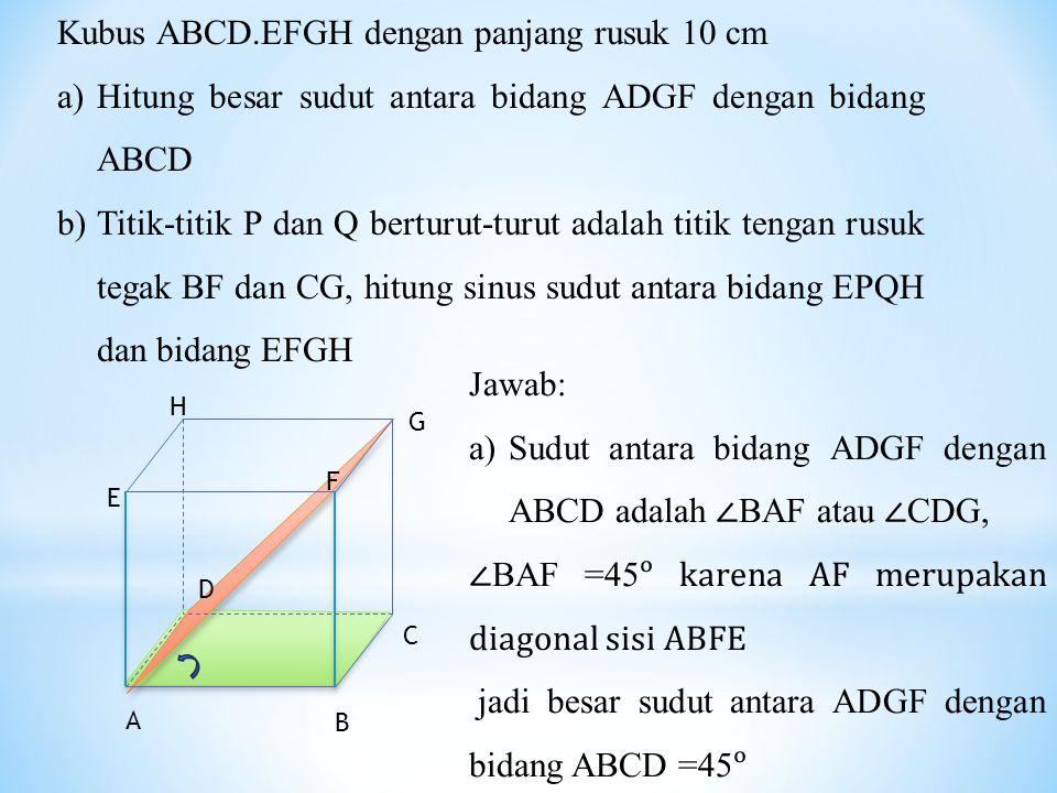 Kubus ABCD.EFGH dengan panjang rusuk 10 cm
