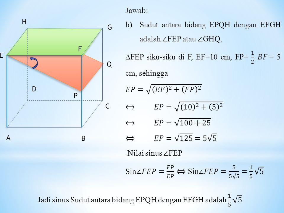 Jadi sinus Sudut antara bidang EPQH dengan EFGH adalah 1 5 5