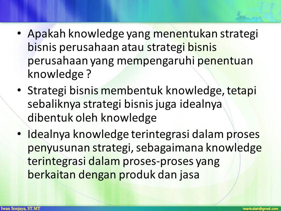 Apakah knowledge yang menentukan strategi bisnis perusahaan atau strategi bisnis perusahaan yang mempengaruhi penentuan knowledge