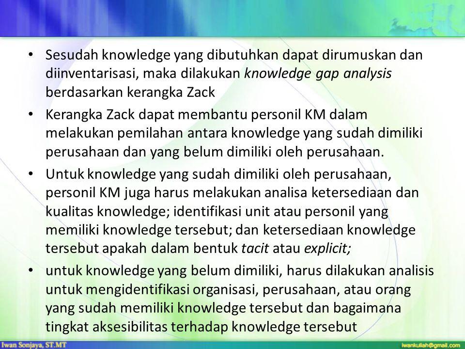 Sesudah knowledge yang dibutuhkan dapat dirumuskan dan diinventarisasi, maka dilakukan knowledge gap analysis berdasarkan kerangka Zack