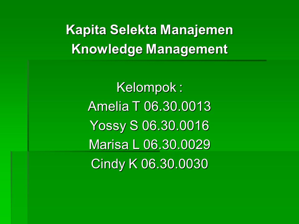 Kapita Selekta Manajemen