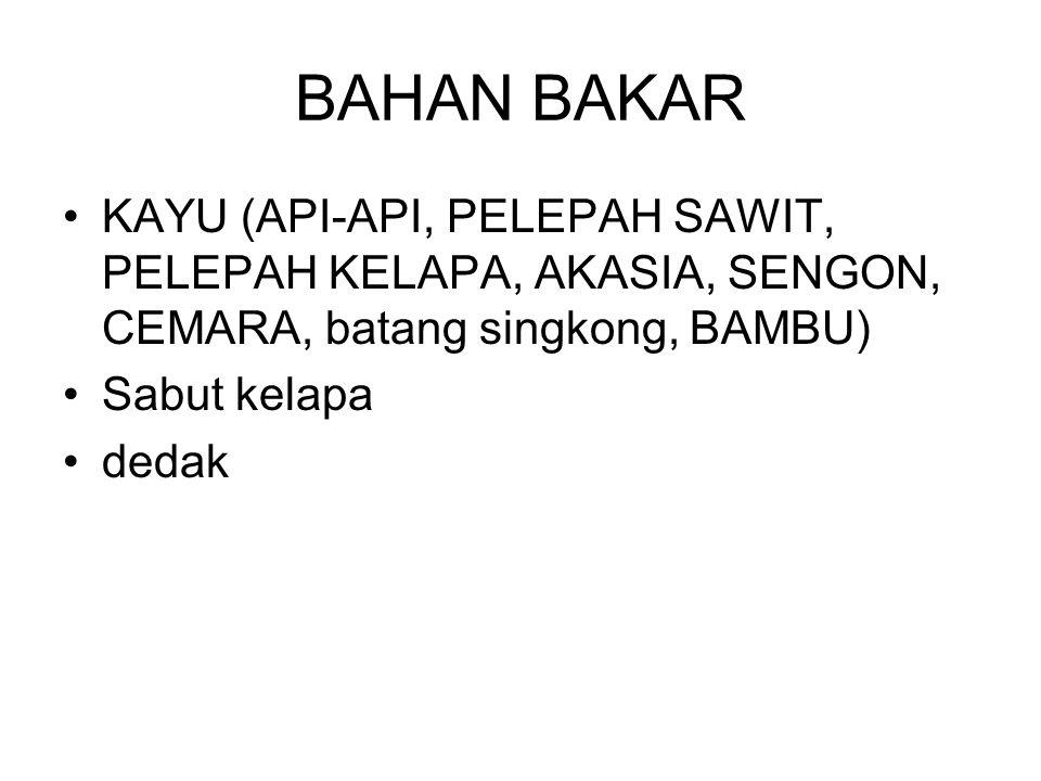 BAHAN BAKAR KAYU (API-API, PELEPAH SAWIT, PELEPAH KELAPA, AKASIA, SENGON, CEMARA, batang singkong, BAMBU)