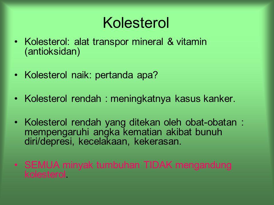 Kolesterol Kolesterol: alat transpor mineral & vitamin (antioksidan)
