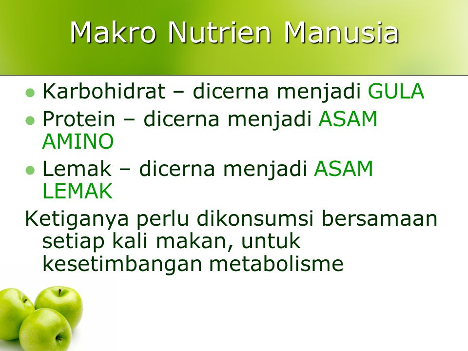 Makro Nutrien Manusia Karbohidrat – dicerna menjadi GULA