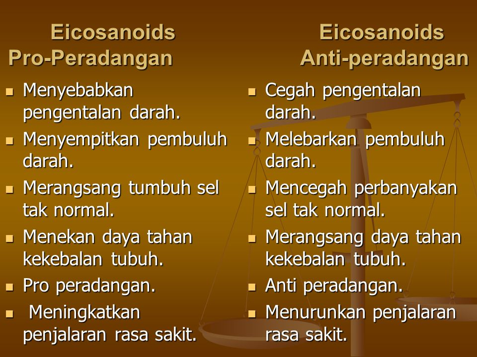 Eicosanoids Eicosanoids Pro-Peradangan Anti-peradangan