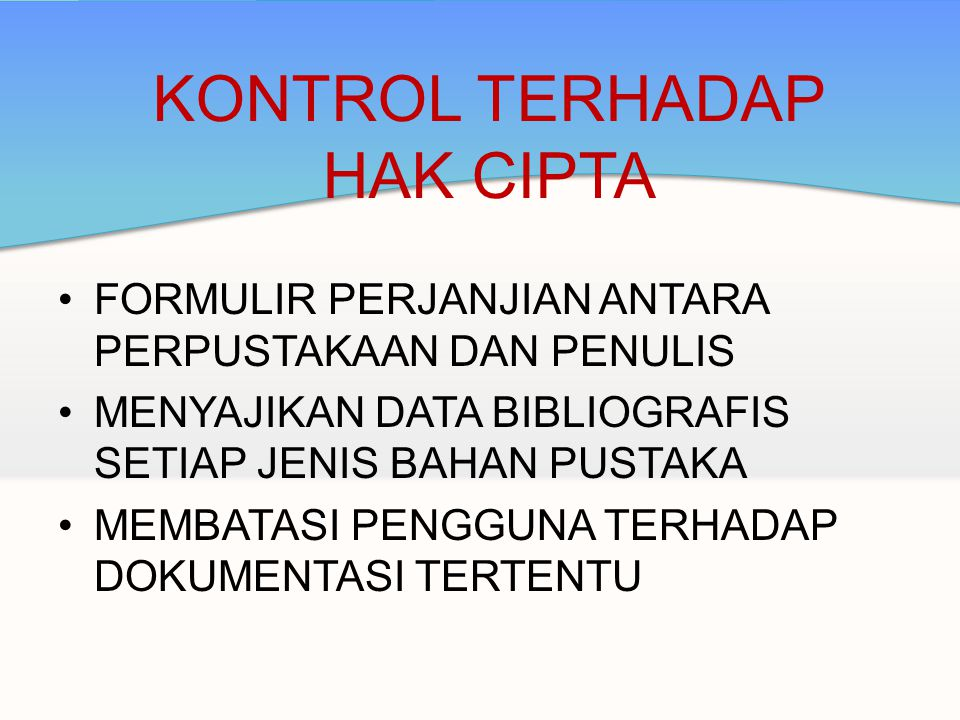 KONTROL TERHADAP HAK CIPTA
