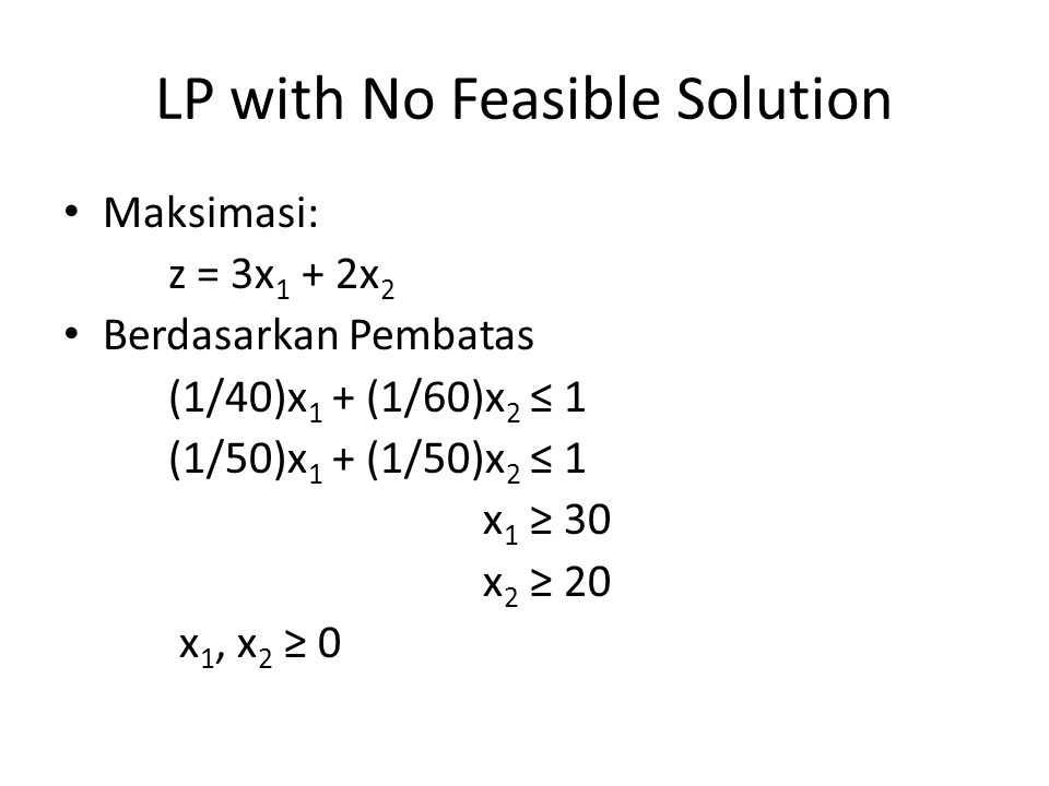 LP with No Feasible Solution