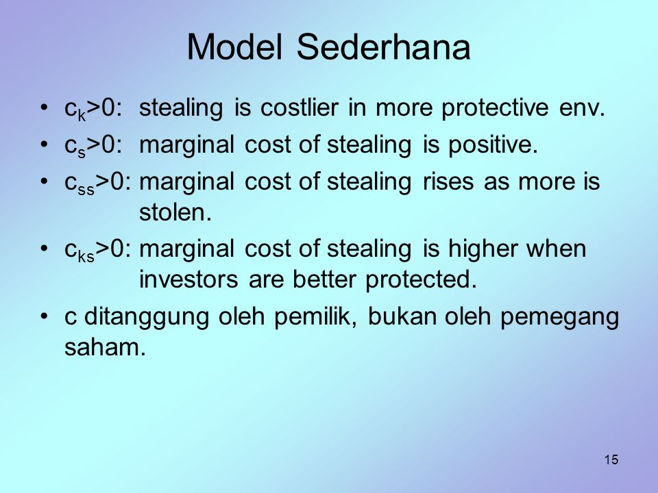 Model Sederhana ck>0: stealing is costlier in more protective env.