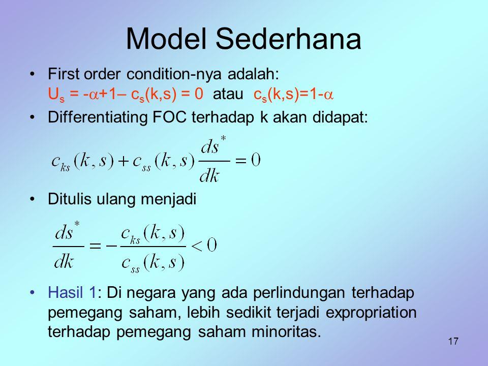 Model Sederhana First order condition-nya adalah: Us = -+1– cs(k,s) = 0 atau cs(k,s)=1- Differentiating FOC terhadap k akan didapat: