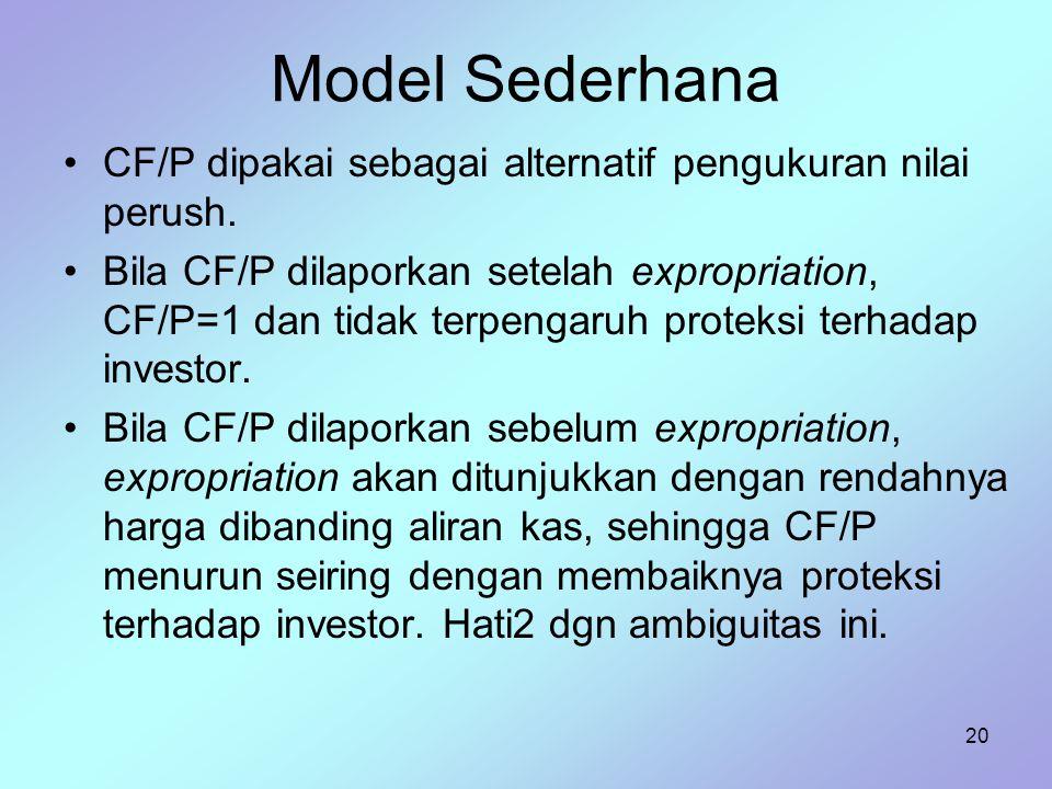 Model Sederhana CF/P dipakai sebagai alternatif pengukuran nilai perush.