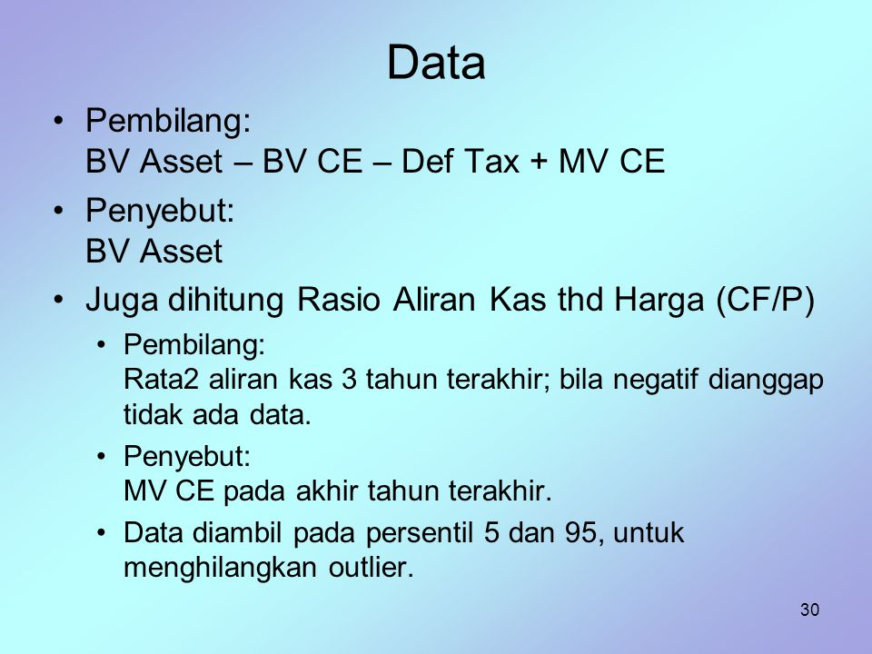 Data Pembilang: BV Asset – BV CE – Def Tax + MV CE Penyebut: BV Asset