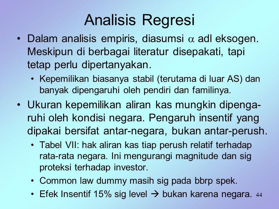 Analisis Regresi Dalam analisis empiris, diasumsi  adl eksogen. Meskipun di berbagai literatur disepakati, tapi tetap perlu dipertanyakan.