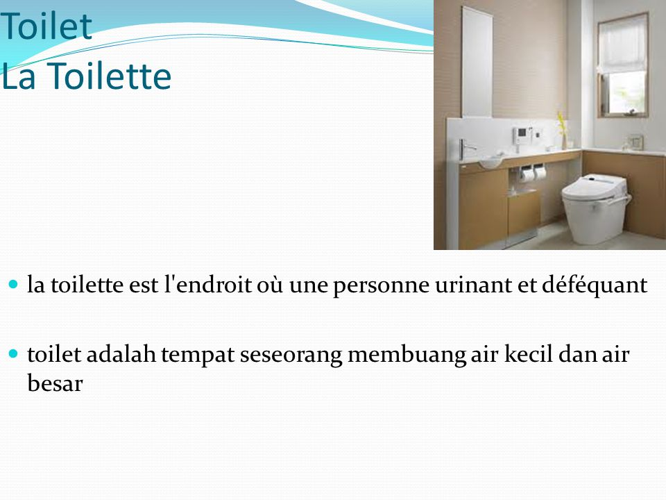 Toilet La Toilette la toilette est l endroit où une personne urinant et déféquant.