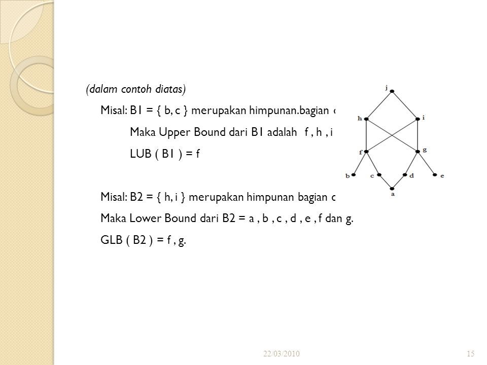 Misal: B1 = { b, c } merupakan himpunan.bagian dari A.