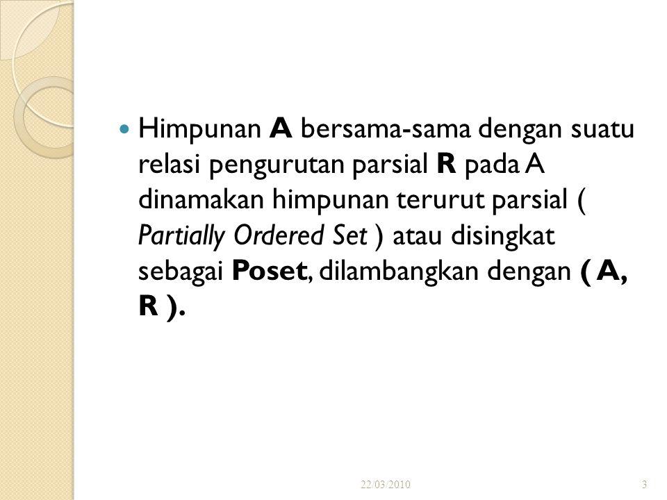 Himpunan A bersama-sama dengan suatu relasi pengurutan parsial R pada A dinamakan himpunan terurut parsial ( Partially Ordered Set ) atau disingkat sebagai Poset, dilambangkan dengan ( A, R ).