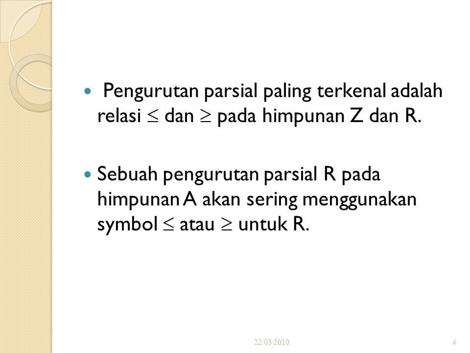 Pengurutan parsial paling terkenal adalah relasi  dan  pada himpunan Z dan R.