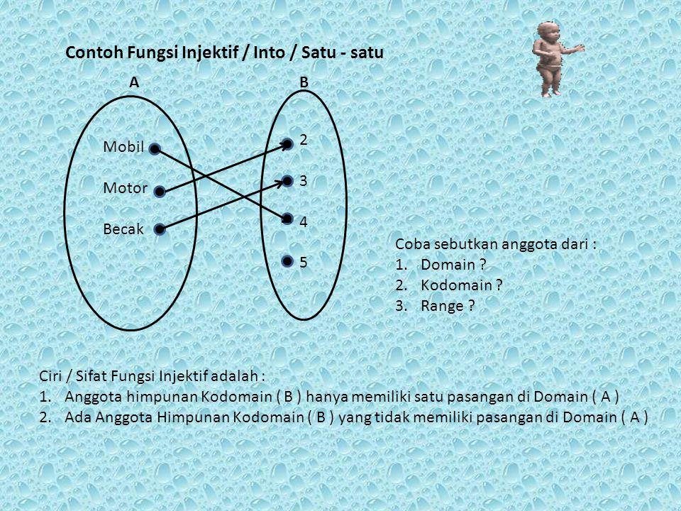 Contoh Fungsi Injektif / Into / Satu - satu