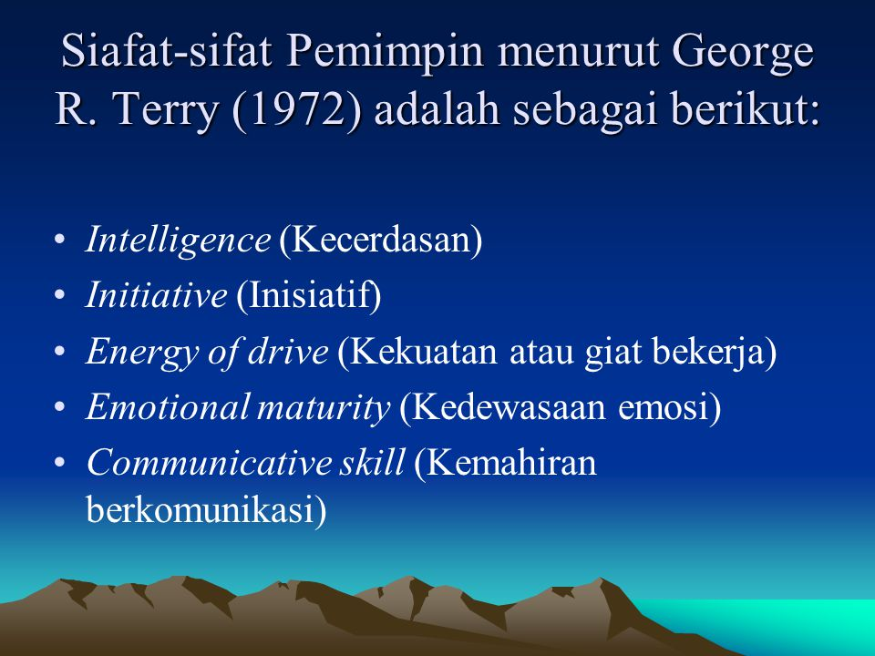 Siafat-sifat Pemimpin menurut George R