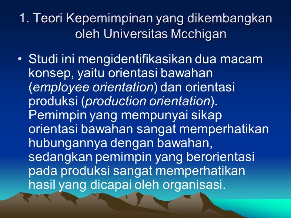 1. Teori Kepemimpinan yang dikembangkan oleh Universitas Mcchigan