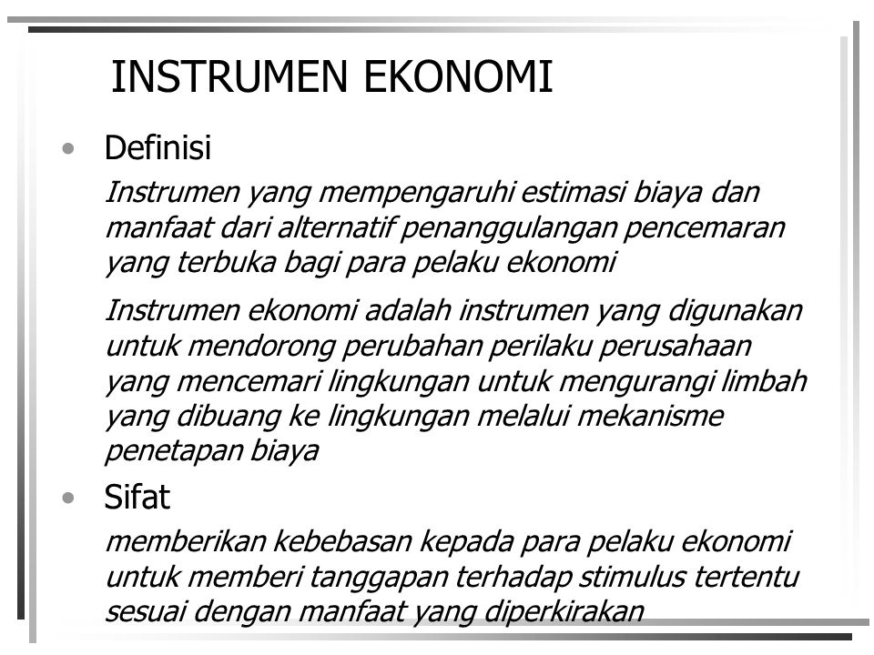 INSTRUMEN EKONOMI Definisi