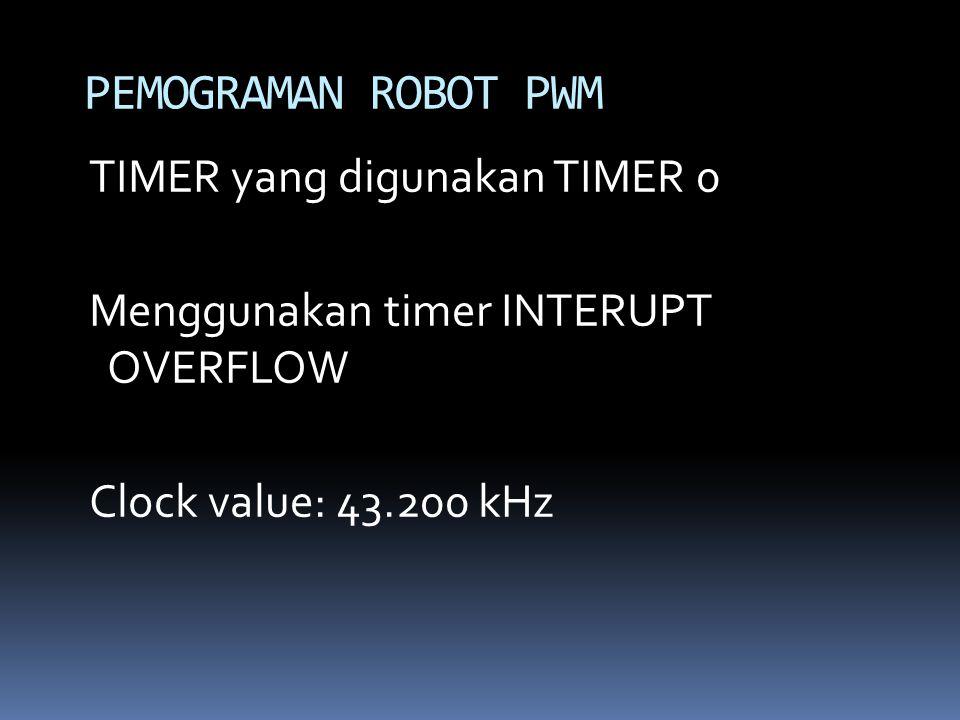 PEMOGRAMAN ROBOT PWM TIMER yang digunakan TIMER 0