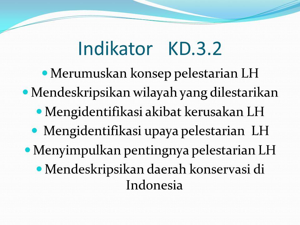 Indikator KD.3.2 Merumuskan konsep pelestarian LH