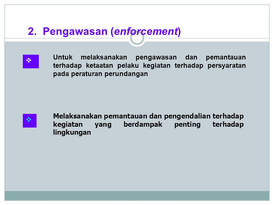 2. Pengawasan (enforcement)