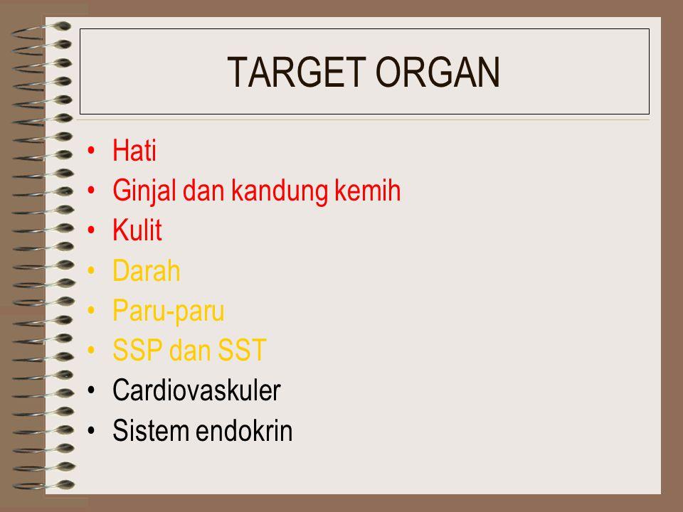 TARGET ORGAN Hati Ginjal dan kandung kemih Kulit Darah Paru-paru