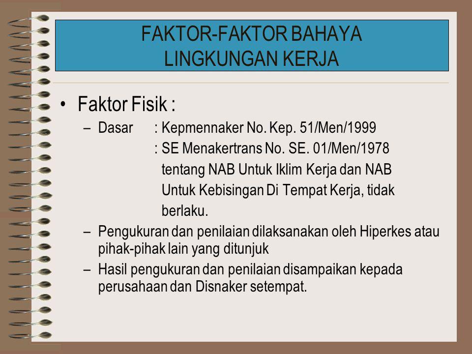 FAKTOR-FAKTOR BAHAYA LINGKUNGAN KERJA