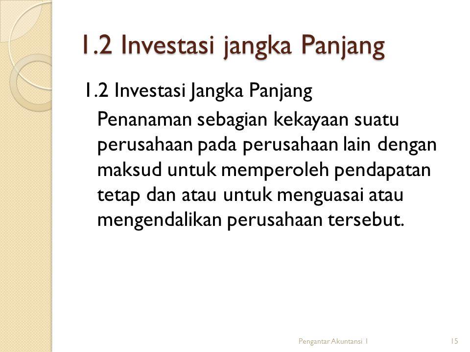1.2 Investasi jangka Panjang