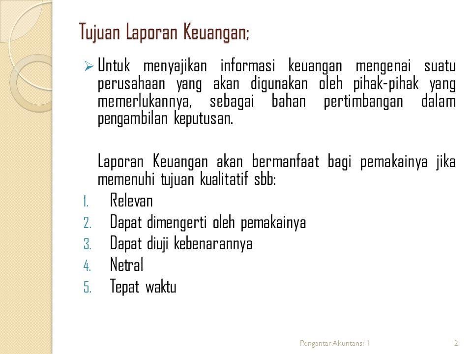Tujuan Laporan Keuangan;