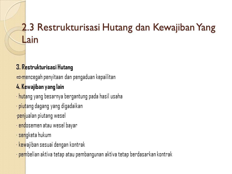 2.3 Restrukturisasi Hutang dan Kewajiban Yang Lain