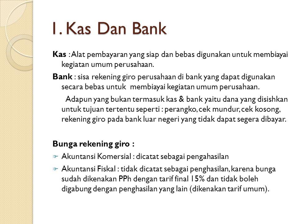 1. Kas Dan Bank Kas : Alat pembayaran yang siap dan bebas digunakan untuk membiayai kegiatan umum perusahaan.