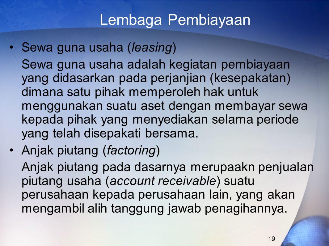 Lembaga Pembiayaan Sewa guna usaha (leasing)