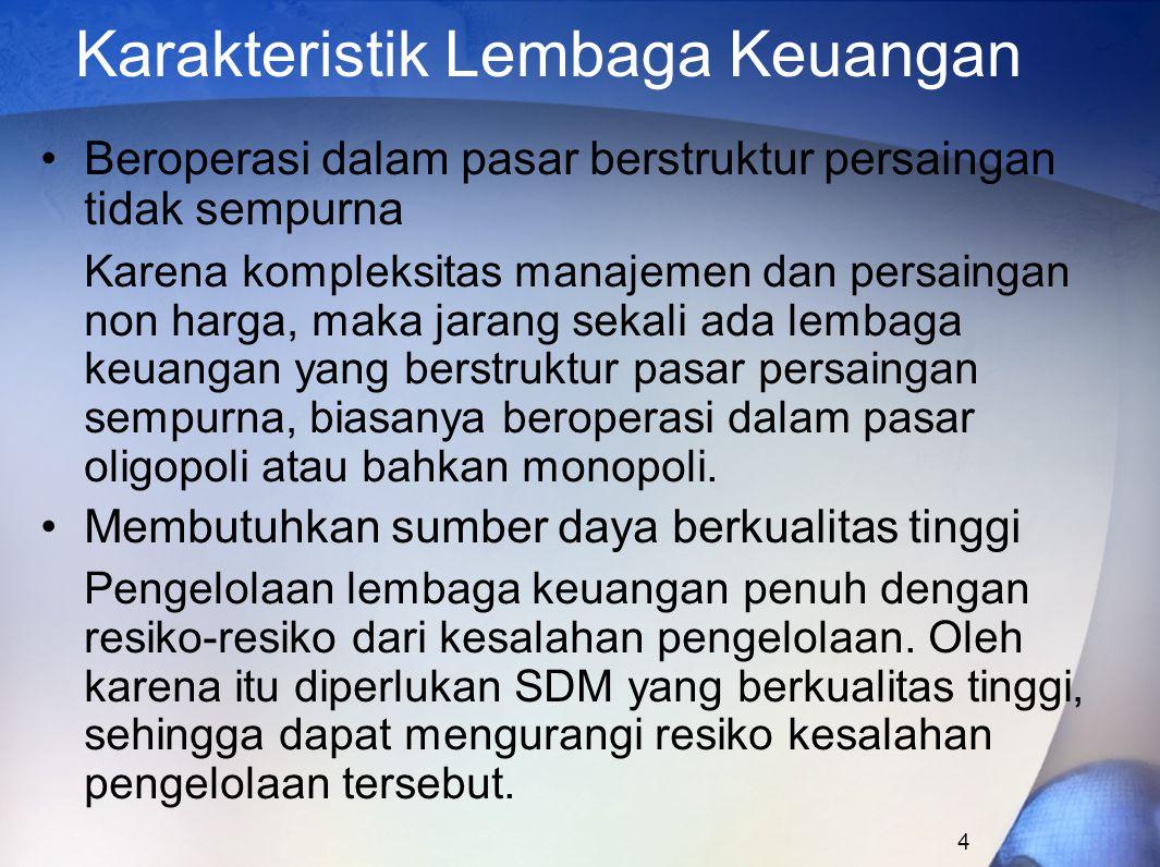 Karakteristik Lembaga Keuangan