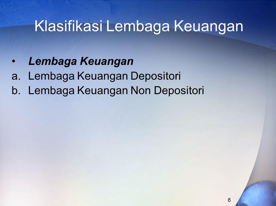 Klasifikasi Lembaga Keuangan