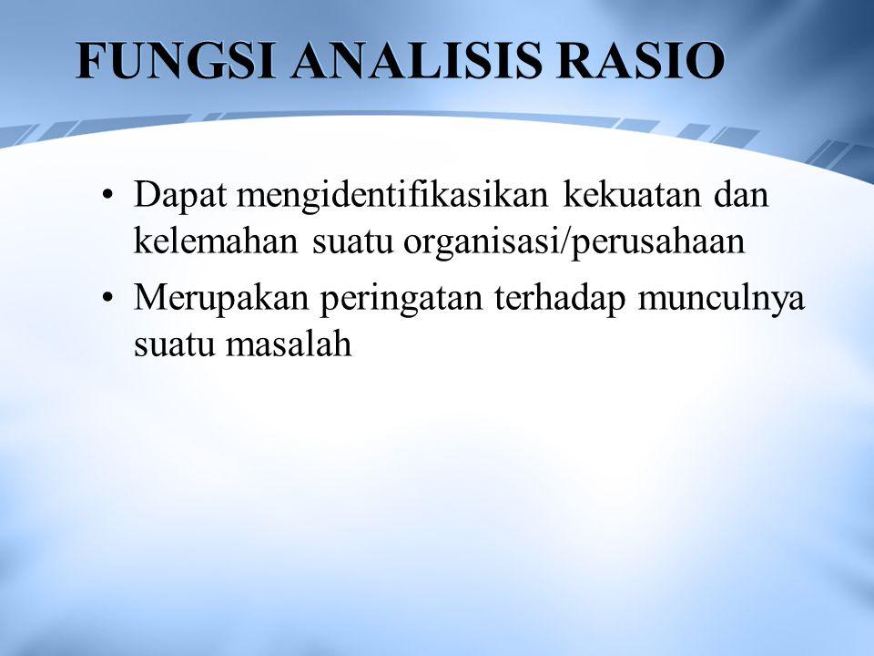 FUNGSI ANALISIS RASIO Dapat mengidentifikasikan kekuatan dan kelemahan suatu organisasi/perusahaan.