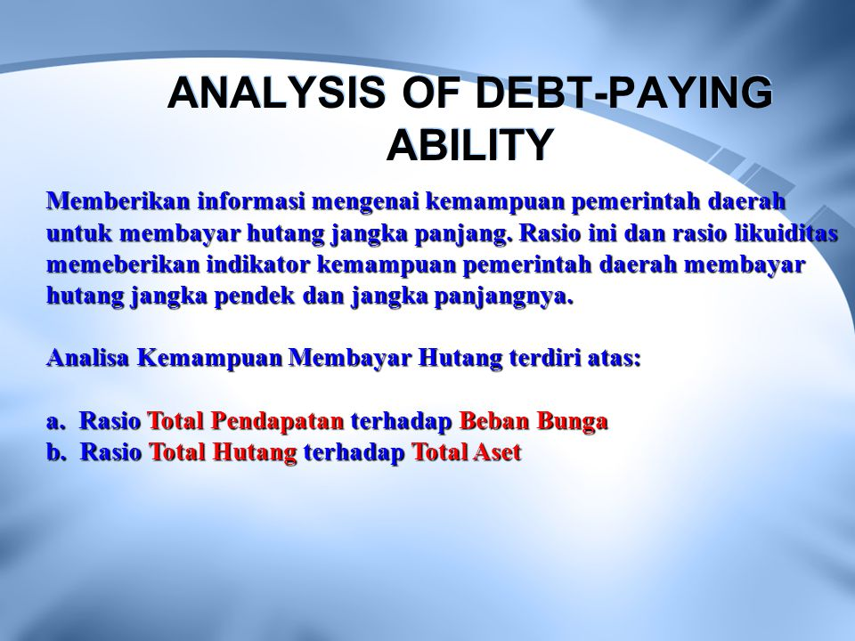ANALYSIS OF DEBT-PAYING ABILITY