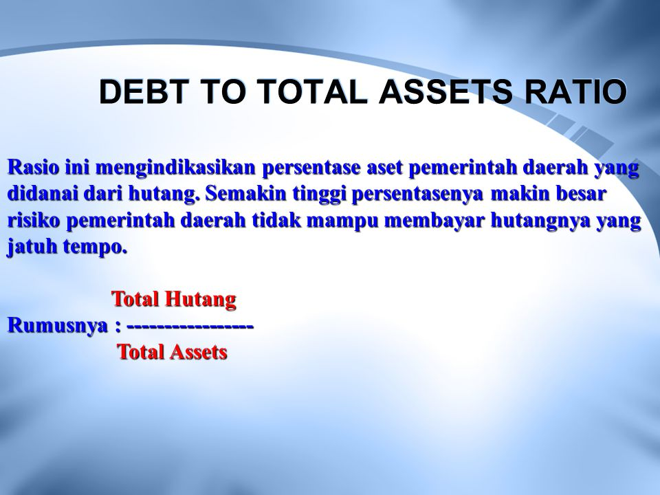 DEBT TO TOTAL ASSETS RATIO