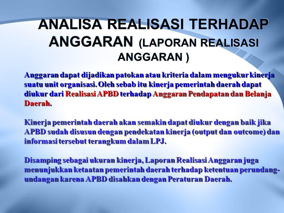 ANALISA REALISASI TERHADAP ANGGARAN (LAPORAN REALISASI ANGGARAN )